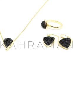 Σετ κοσμημάτων από μαύρη πέτρα druzy σε ασήμι 925 επιχρυσωμένο BI0003