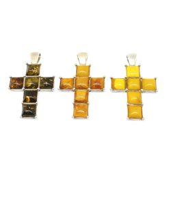 Ασημένιος σταυρός με κεχριμπάρι BE0069
