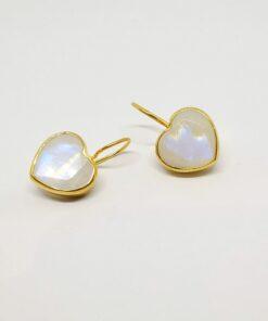 Σκουλαρίκια σε σχήμα καρδιάς με φεγγαρόπετρα BD0107