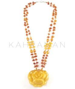 Χειροποίητο κολιέ κεχριμπάρι τριαντάφυλλο BC0181